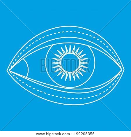 Eyelid surgery icon blue outline style isolated vector illustration. Thin line sign