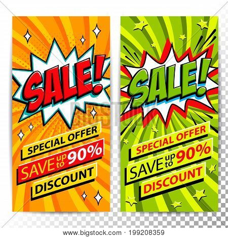 Sale web banners. Set of Pop art comic sale discount promotion banners. Big sale background. Decorative backgrounds with bomb explosive. Comics pop-art style bang shape on orange and green twisted background. Ideal for web banners. Vector illustration.