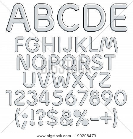 Silver alphabet, letters, numbers and signs. Isolated vector objects on white background.