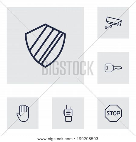 Collection Of Open, Walkie-Talkie, Protection And Other Elements.  Set Of 6 Procuring Outline Icons Set.