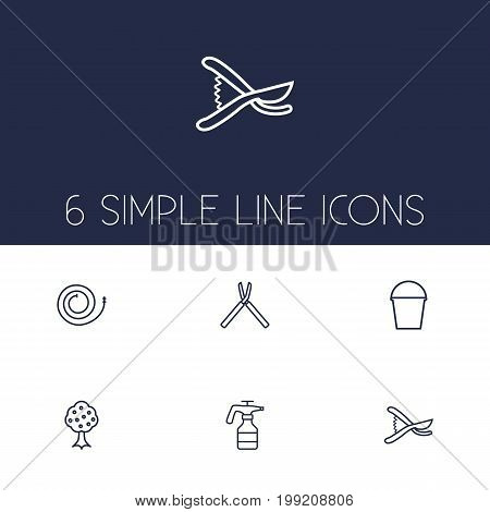 Collection Of Secateurs, Firehose, Pail And Other Elements.  Set Of 6 Farm Outline Icons Set.