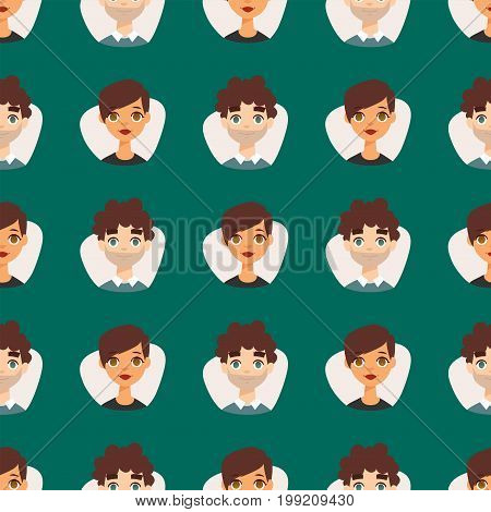 Seamless pattern diverse round avatars with facial features nationalities people characters vector illustration. Cute cartoon style faces man and woman.
