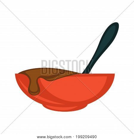 Vector illustration of red bowl with brown hair dye isolated on white.