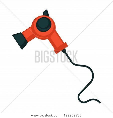 Vector illustration of red and black colored electric blow dryer.