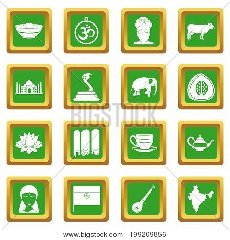 India travel icons set in green color isolated vector illustration for web and any design