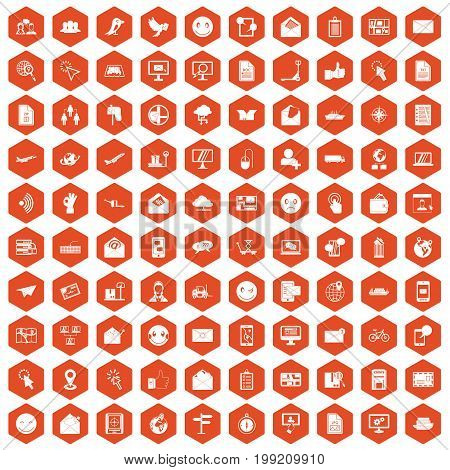 100 mail icons set in orange hexagon isolated vector illustration