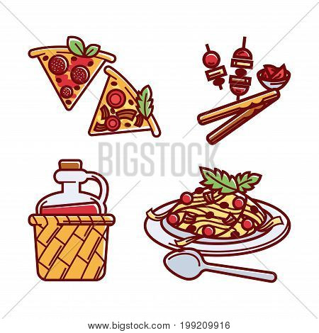 Vector illustration of different Italian main dishes and starters with red wine.