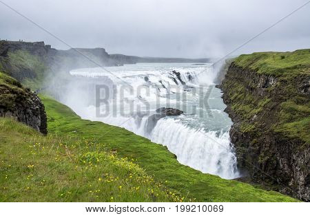 Gullfoss waterfall located in the canyon of Hvita river, Iceland.