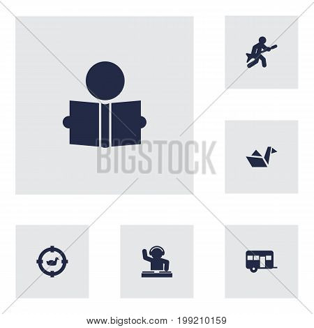 Collection Of Paper Figure, Learning, Playing And Other Elements.  Set Of 6 Entertainment Icons Set.