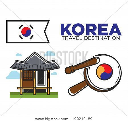 Vector illustration of Korea travel destination text and temple with traditional percussion instrument.
