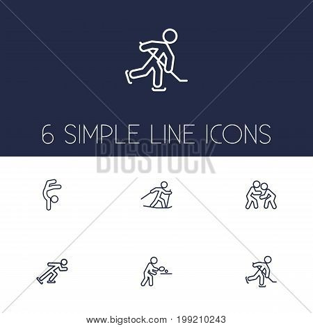 Collection Of Ski Running, Puck, Pong Ping And Other Elements.  Set Of 6 Fitness Outline Icons Set.