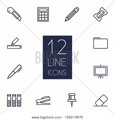Collection Of Eraser, Portfolio, Pushpin And Other Elements.  Set Of 12 Tools Outline Icons Set.