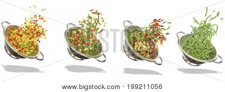 Variety of frozen vegetables on white background