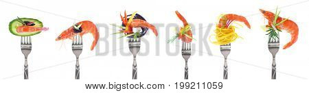 Variety of shrimps appetizers on forks - white background
