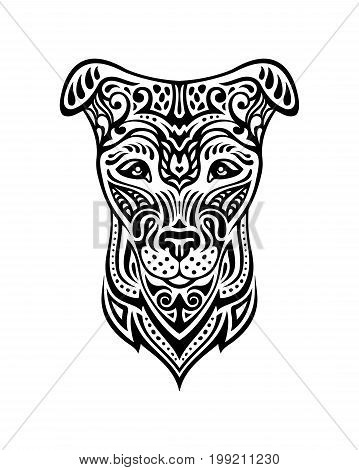 Dog is a symbol of the 2018 Chinese New Year. Doodle style. Design for coloring book page for adults, greeting cards, calendars, banners, posters, invitations.
