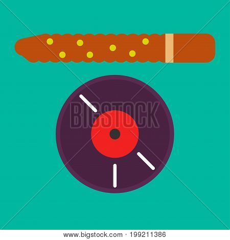 Vector illustration of vintage vinyl record and brown colored stick on green background.