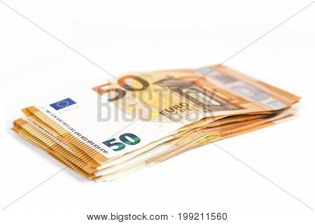 Pills of Bills paper 50 euro banknotes on white background. Symbol of abundance. As part of the united country's payment system. Front and top view