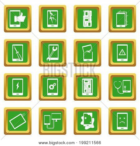 Device repair symbols icons set in green color isolated vector illustration for web and any design