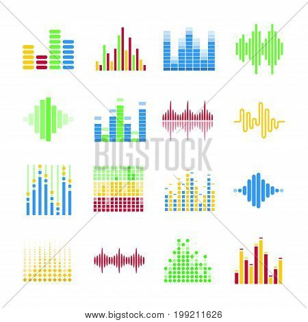 Colorful musical equalizers in form of columns and sound wave that moves together with melody changes isolated on white background. Bright music visualisation cartoon vector illustrations set.
