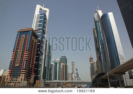 Dubai, Uae - 2/11/2011: Business Bay Boulevard With Skyscraper B