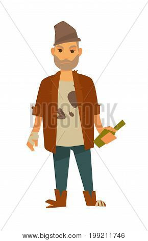 Homeless man in stained T-shirt, old shapeless hat, brown shabby jacket, ripped shoes with unneat beard, glass bottle and bandaged hand isolated cartoon vector illustration on white background.