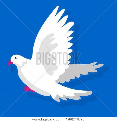 Vector illustration of white bird landing with wings apart on blue background.
