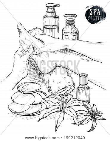 Foot massage. Hands doing foot massage. Vector illustration, pencil drawing