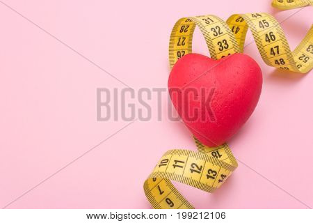 Measuring tape meter centimeter and heart health