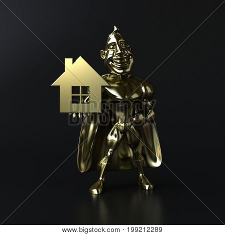 Golden superhero - 3D illustration