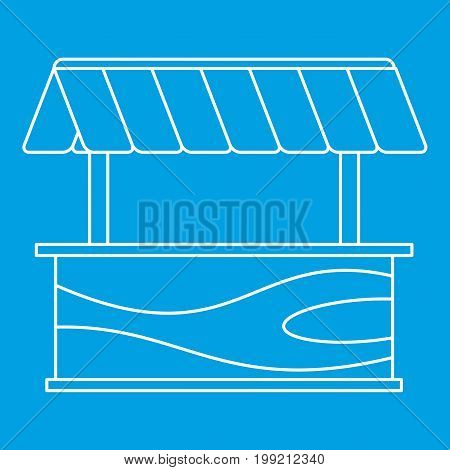Street stall with awning icon blue outline style isolated vector illustration. Thin line sign