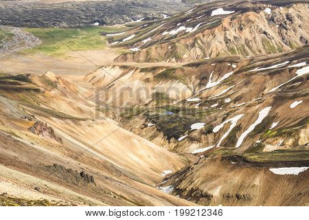 Valley National Park Landmannalaugar, Iceland in the July.