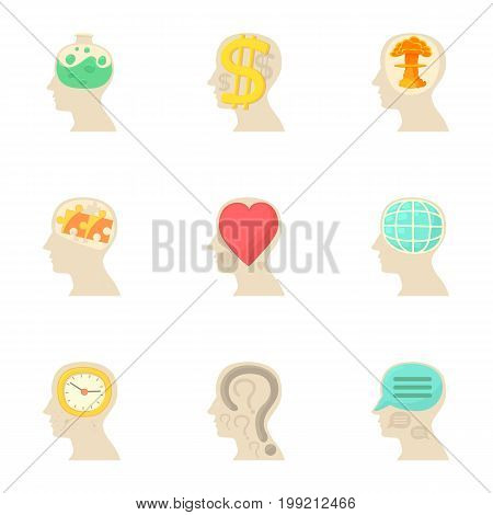 Different thoughts inside man hea icons set. Cartoon set of 9 different thoughts inside man hea vector icons for web isolated on white background