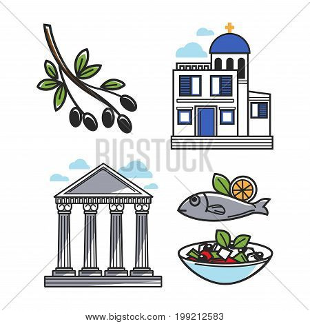 Black olive on branch, small authentic church, ancient columns, fish with lemon and Greek salad in bowl. Greece architectural and food symbols isolated vector illustrations set on white background.