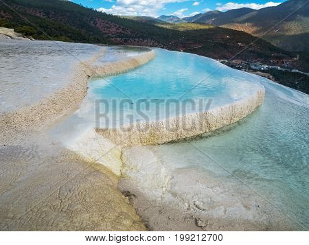 Baishuitai White Water Terraces travel destination near Zhongdian in Yunnan China