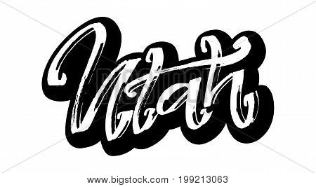 Utah. Sticker. Modern Calligraphy Hand Lettering for Silk Screen Printing