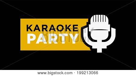 Karaoke party promotional emblem with old-fashioned microphone isolated vector illustration on black background. Traditional Korean entertainment advertisement. Public place to sing logotype.