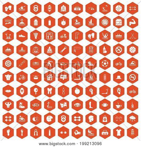 100 men health icons set in orange hexagon isolated vector illustration