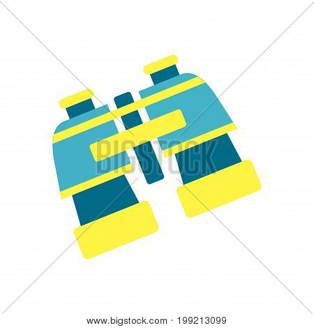 Bright blue and yellow plastic binocular isolated vector illustration on white background. Marine equipment for zoom objects that on long distance. Optical device used in military and daily life.