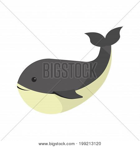 Big black whale with white smooth stomach isolated cartoon flat vector illustration. Huge oceanic animal with funny face, small fins and raised up tail. Marine mammal from family of cetaceans.
