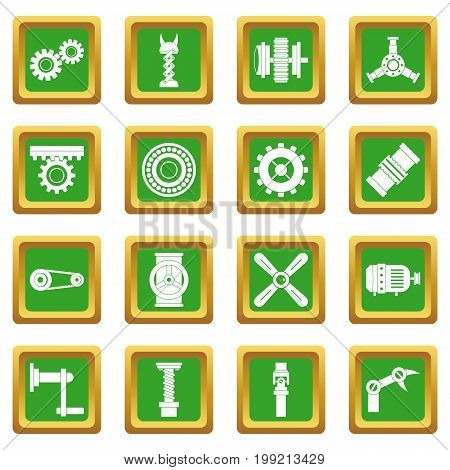 Techno mechanisms kit icons set in green color isolated vector illustration for web and any design