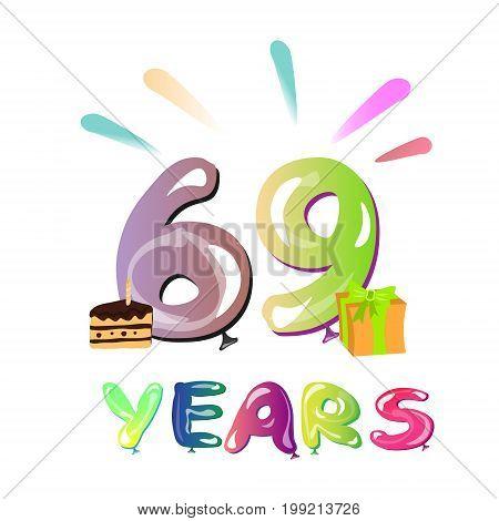 Sixty nine birthday greeting card. Vector illustration