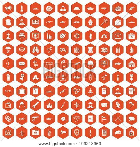 100 military icons set in orange hexagon isolated vector illustration
