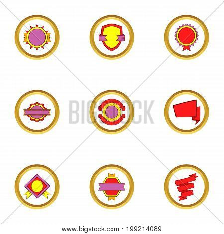 Modern badges icons set. Cartoon set of 9 modern badges vector icons for web isolated on white background