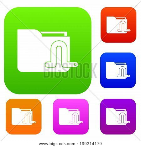Computer worm set icon in different colors isolated vector illustration. Premium collection