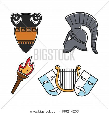 Old vase with ornament, metal gladiators helmet, bright torch, small golden harp and theatre masks. Ancient Greek culture symbols isolated cartoon vector illustrations set on white background.