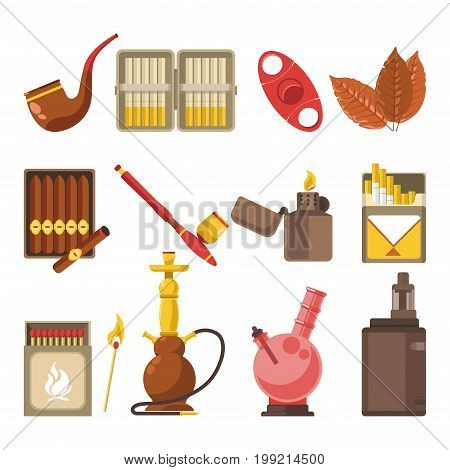 Smoking appliances and cigarettes accessories set. Tobacco leaf, smoke pipe or cigar in cigarette case, matches or lighter, e-cigarette and shisha hookah vector flat isolated icons