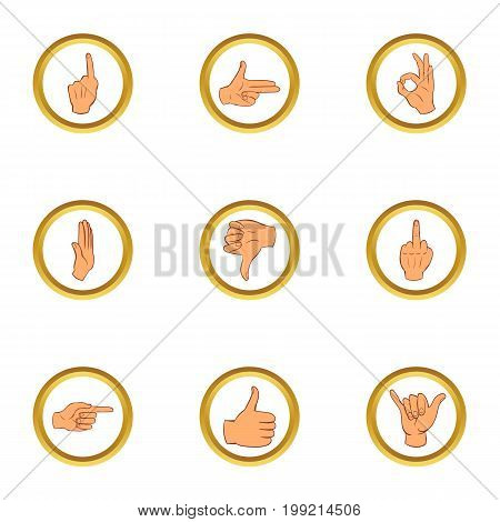 Hand gesture icons set. Cartoon set of 9 hand gesture vector icons for web isolated on white background