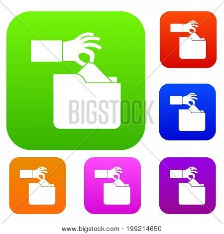Robbery secret data in folder set icon in different colors isolated vector illustration. Premium collection