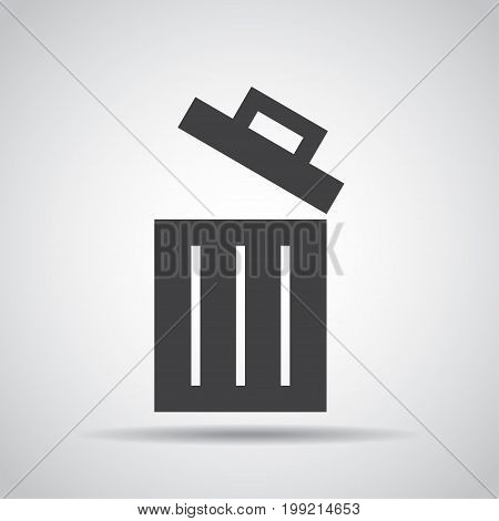 Trash bin icon with shadow on a gray background. Vector illustration