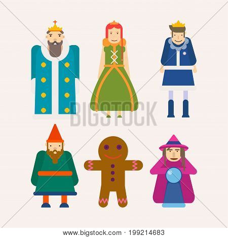 Fairy tale popular cartoon characters set. of magic fairytale king, queen or princess and prince, gingerbread man, fairy aunt and gnome dwarf. Vector flat isolated icons